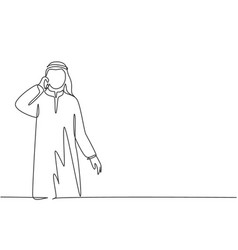 Single continuous line drawing young male vector