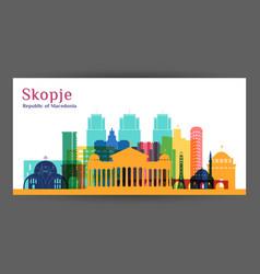 skopje city architecture silhouette colorful vector image