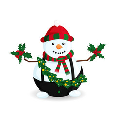 snowman with wreath vector image