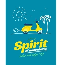 summer typography poster with flat retro moto bike vector image
