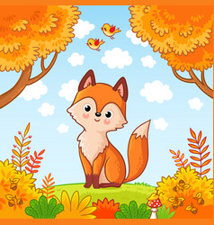 The fox sits in a clearing in the forest vector