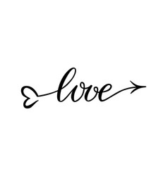 the word love hand-drawn lettering love in the vector image