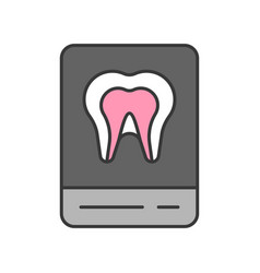 tooth x ray film dental related icon filled vector image