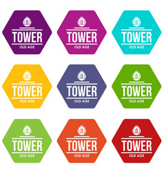 tower old age icons set 9 vector image