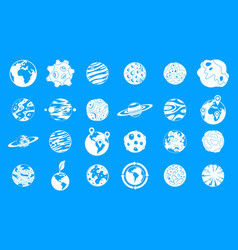 universe planet icon blue set vector image