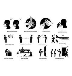 virus outbreak risks prevention preparedness tips vector image