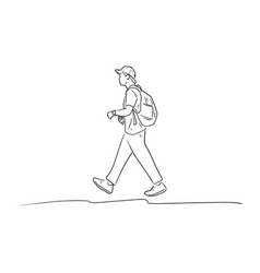 walking young man with backpack vector image