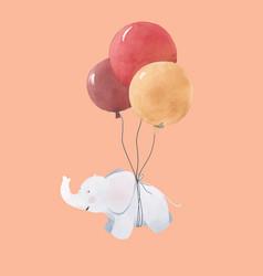 Watercolor baby elephant vector