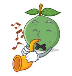 With trumpet guava mascot cartoon style vector