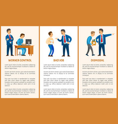 Worker control bad job and dismissal boss leader vector