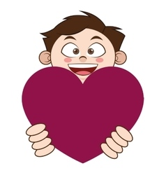 young boy holding cartoon heart icon vector image