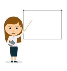 Young business woman giving a presentation vector