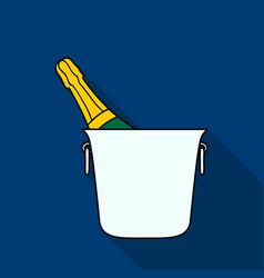 Bottle of champagne in an ice bucket icon in flat vector