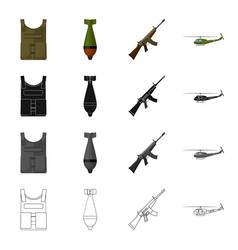 military bulletproof vest mine machine gun vector image vector image