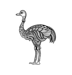 ostrich in zentangle style vector image