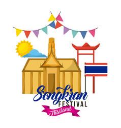 songkran festival thailand building flag pennant vector image vector image