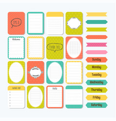 Template for notebooks cute design elements in vector