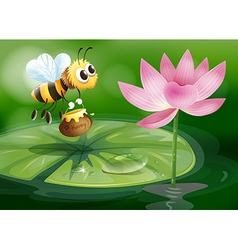A bee with a pot of honey above a waterlily vector image vector image