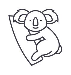 cute koala line icon sign on vector image vector image