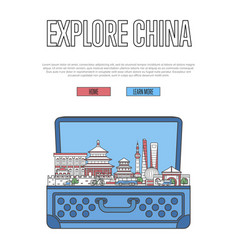 explore china poster with open suitcase vector image vector image