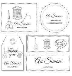 Hand drawn sewing Identity logo vector image