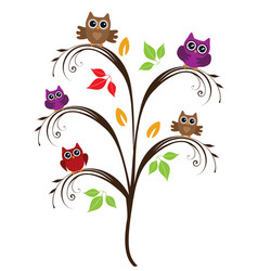 owl tree vector image