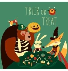 Animals in Halloween costume vector image vector image