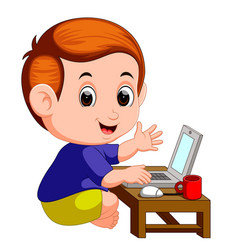 cute boy using laptop computer vector image