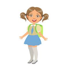 happy sweet little schoolgirl carrying green vector image