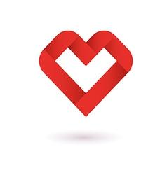 Heart Ribbon Origami Logo Design Template vector image