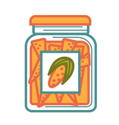 jar with delicious canned corn isolated cartoon vector image