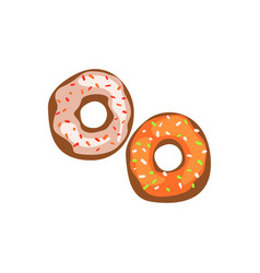 two fresh glazed donuts cartoon vector image vector image