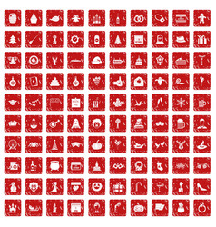 100 holidays icons set grunge red vector image