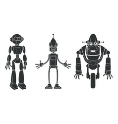 pictogram set robotic character vector image