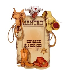 Wanted western vintage poster vector