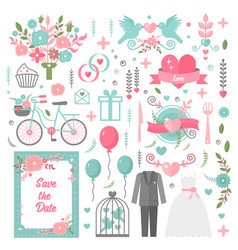 wedding vintage graphic set of suit dress arrows vector image