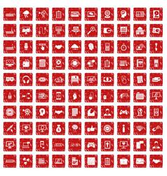 100 web development icons set grunge red vector image