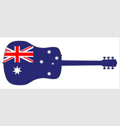 acoustic guitar silhouette with australian vector image