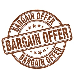 Bargain offer brown grunge round vintage rubber vector