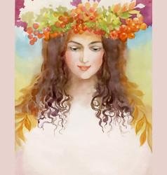 Beautiful girl with wreath vector
