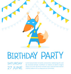 birthday party banner template with cute fox vector image