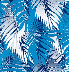 Blue palm leaves in a seamless pattern vector