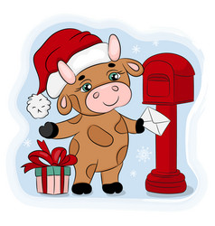 Bull 2021 sends christmas mail hand drawn vector