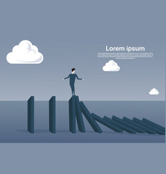 business man standing on chart bar falling vector image