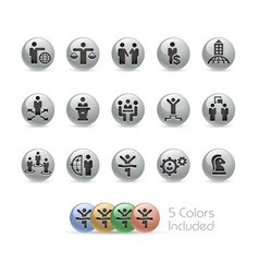 business success icons - metal round series vector image