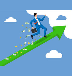Businessman on chart ladder is fast running vector