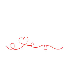 calligraphy red heart ribbon on white background vector image