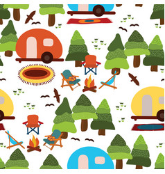 camping seamless pattern background vector image