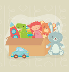 cardboard box filled different toys vector image