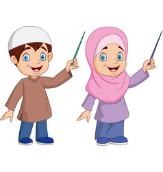 Cartoon muslim kid presenting vector
